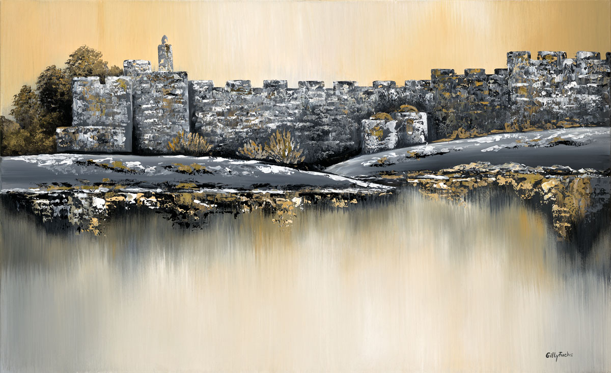 Jerusalem_painting_Gitty_Fuchs_Golden_City_Reflections_in_Grey_and_white_130x80_cm (1)