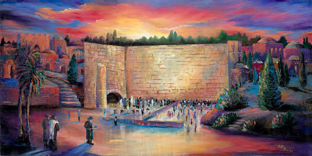 Judaic_art_Jewish_Gitty_Fuchs_The_Western_Wall-Lights-at-Midnight 4