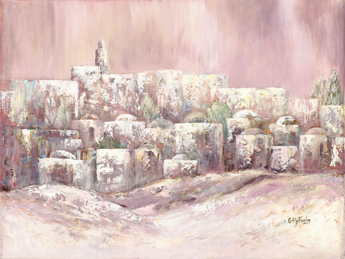 Judaic_art_Jewish_Gitty_Fuchs_Welcoming_The_Shabbat_pink_gittyfuchs.com